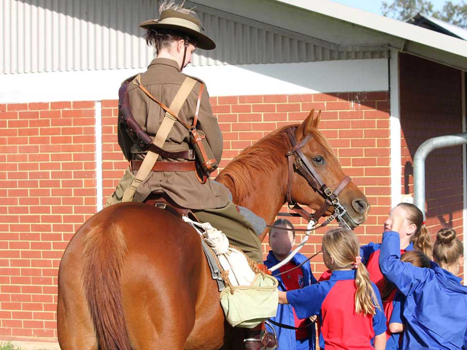 Braylea Centre Stage and Alex Stotter representing the Light Horse while visiting a school.